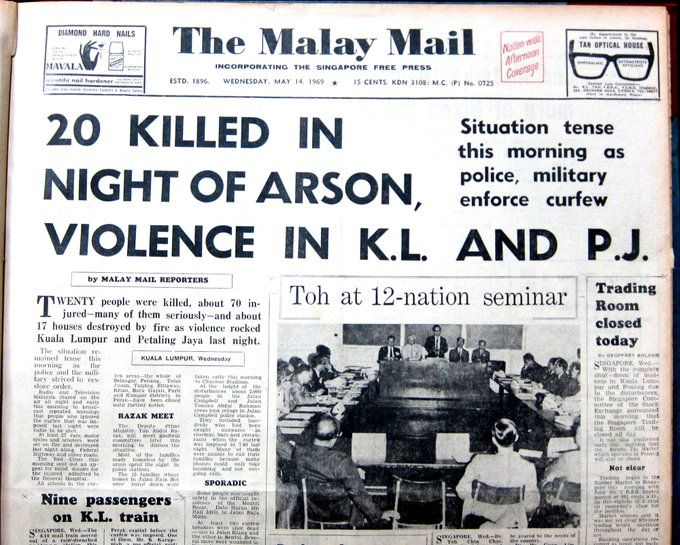 newspaper clipping of the 13 May riots