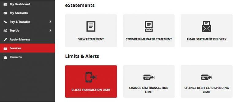 CIMB Clicks website, transaction limit page