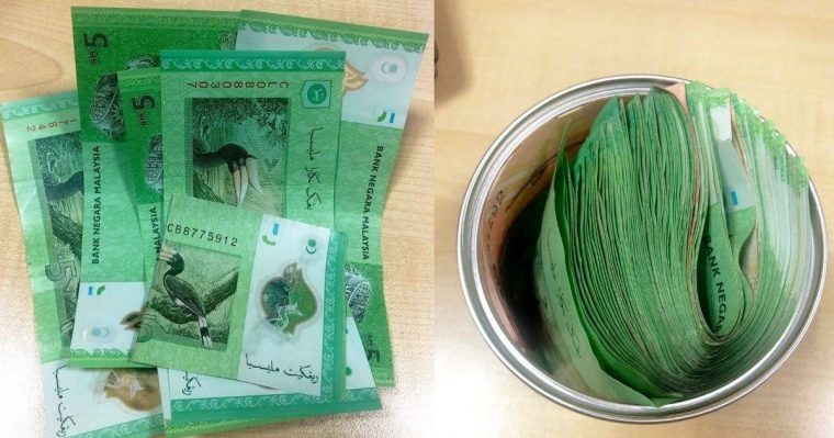 A stack of RM5 saved up in a container