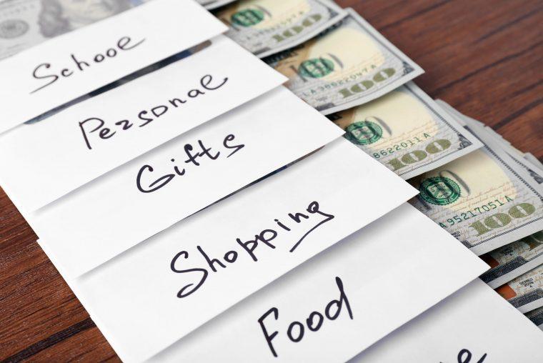 Dividing money into envelopes based on food, shopping, etc
