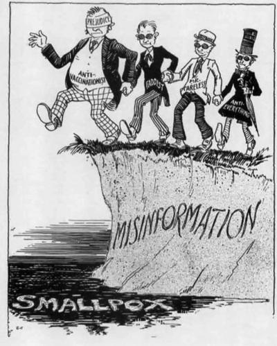 historical cartoon of anti vaxxers