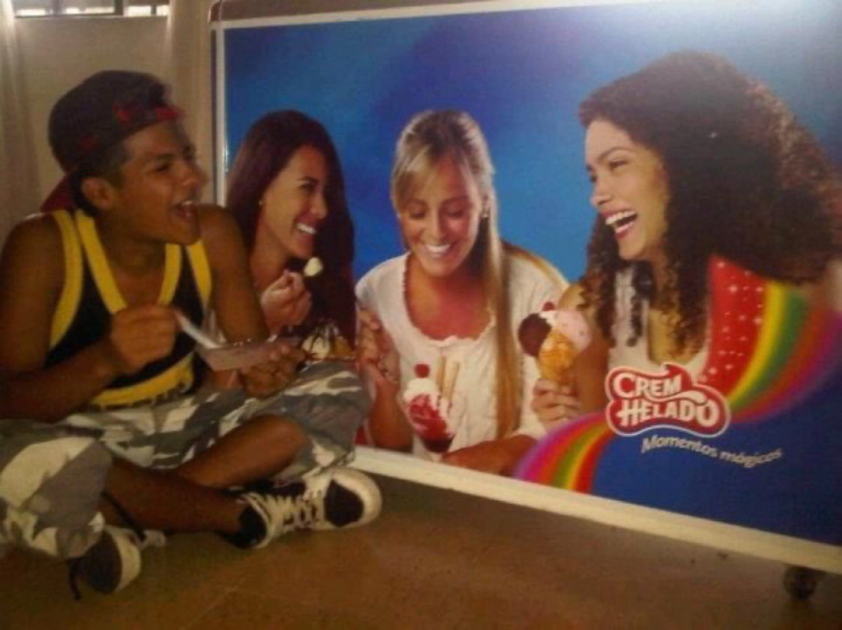 eating ice cream alone but with a picture of my friends
