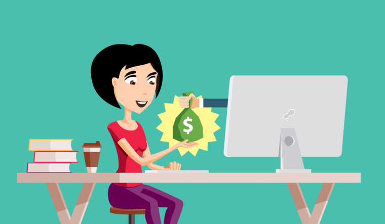 An illustration of a woman receiving a bag of money online