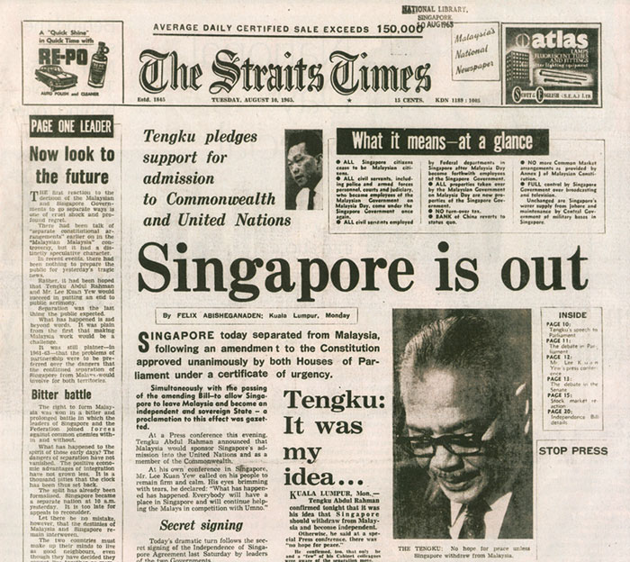 newspaper clipping of singapore leaving malaysia