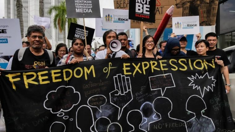 A protest of freedom of speech