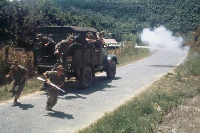 British soldiers reacting to an ambush