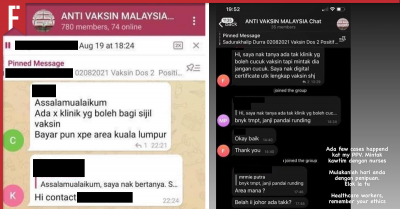screenshots of anti-vaxxer group chats