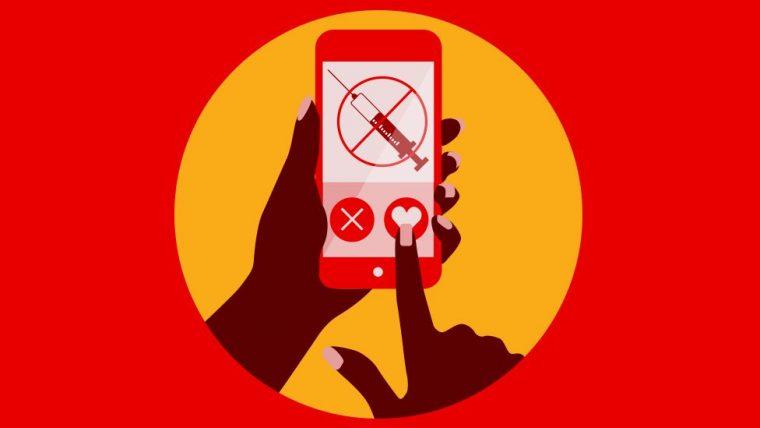 cartoon image of anti-vaxxer social media