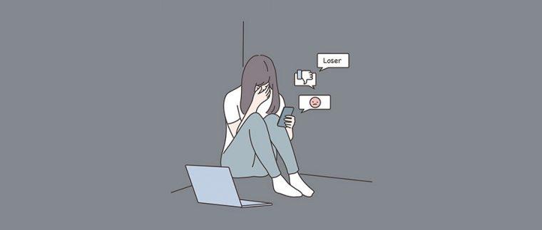 A girl being cyberbullied
