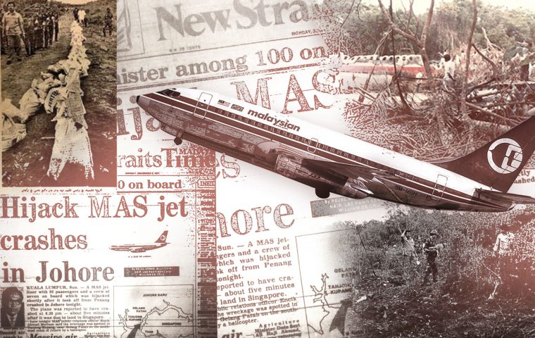 newspaper clippings and images of Flight MH653