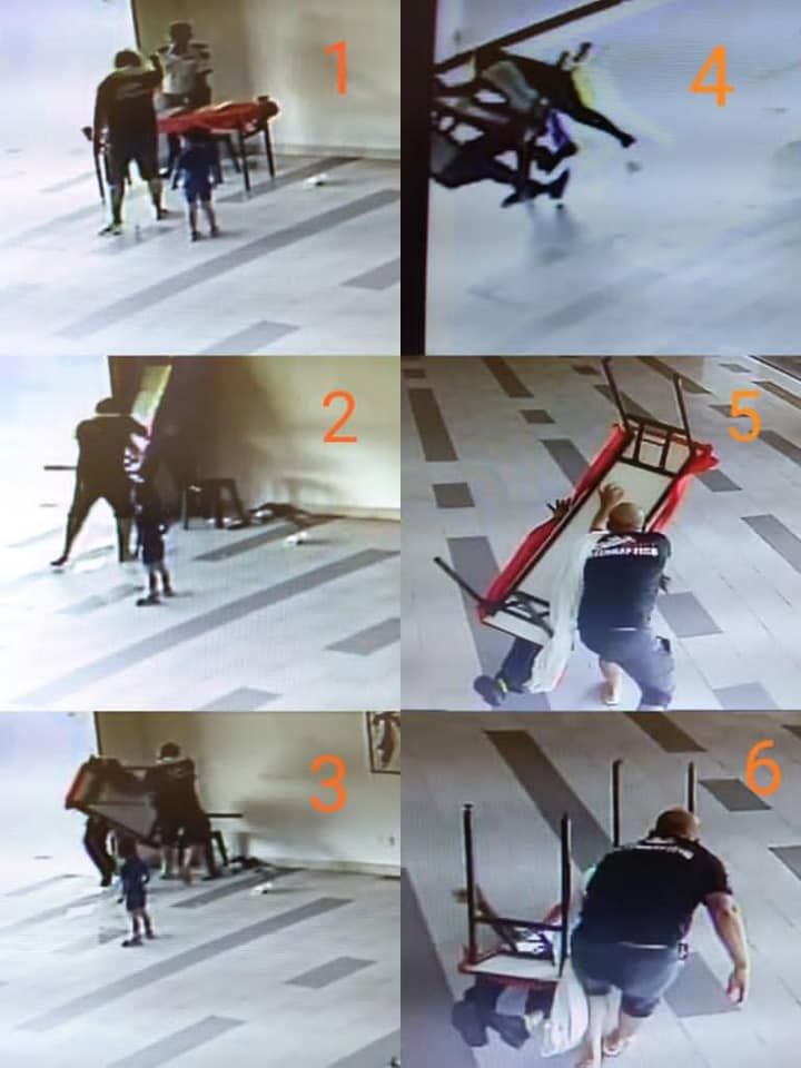 screenshots of video showing Thava being attacked