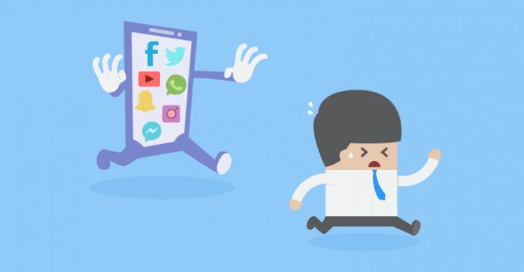 A man running away from social media