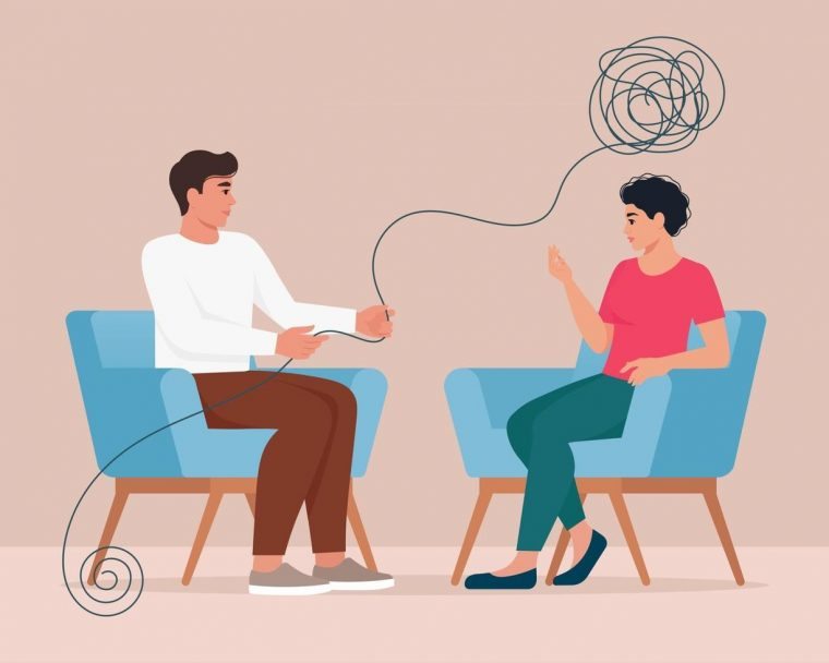 therapist and client talking
